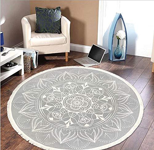 Pauwer - Alfombra redonda de algodón tejida a mano con borlas, antideslizante, lavable, para salón, dormitorio, habitación de los niños, 120 cm