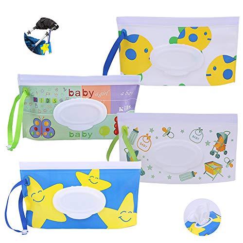 SUNSK Contenitori per Salviettine Porta Salviette Umidificate Wet Wipes Box Riutilizzabili Sacchetti per Salviettine Umidificate 4 Pezzi