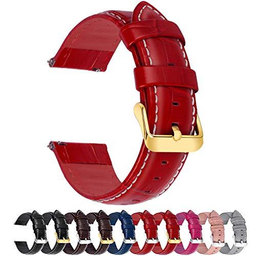 Fullmosa 7 Farben Für Uhrenarmband, Echtes Kalbsleder Uhrarmband für Mann Frau Bambus Muster Lederarmband mit Edelstahl Metall Schließe 18mm,Rot mit Golden Schnalle