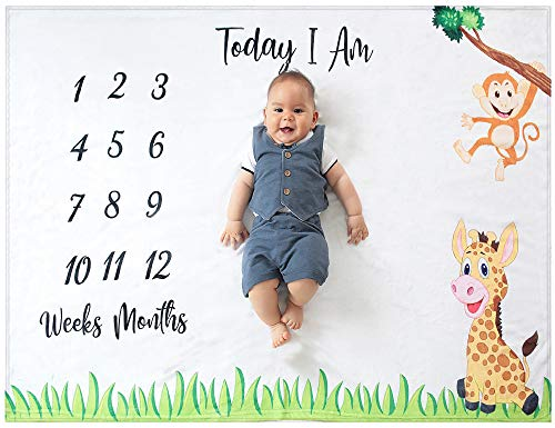 Odoxia Baby Monthly Milestone Blanket | for Boy or Girl Unisex | Month Blanket Baby for Pictures | Jungle Safari Giraffe amp Monkey Theme | Personalized Shower Gifts New Moms | Track Age amp Growth