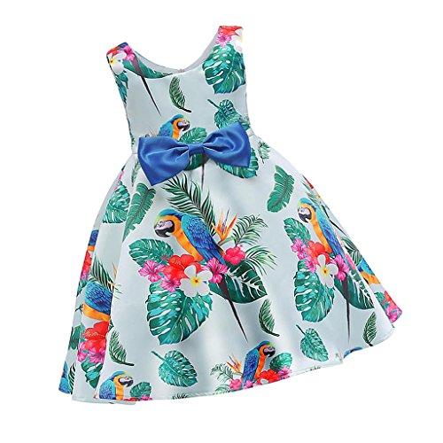 menolana Vestidos de Festa de Casamento de Princesa Fofa com Impressão de Flores Sem Mangas - 110 centímetros
