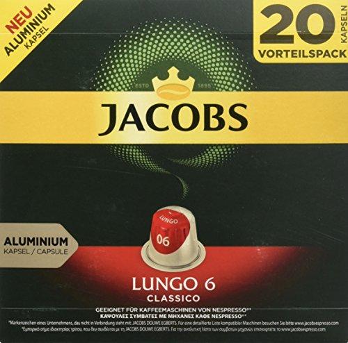 Jacobs Kaffeekapseln Lungo Classico, Intensität 6 von 12, 20 Nespresso®* kompatible Kapseln für 20 Getränke