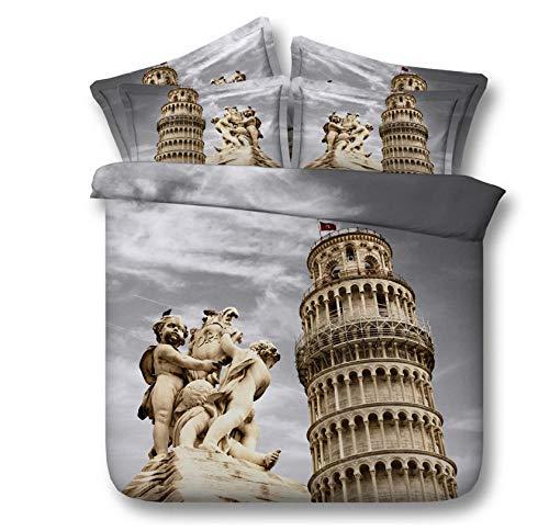 3D Drucken Bettwäscheset Der Schiefe Turm von Pisa Bettwäscheset Lebensechte Bettwäsche Bettwäscheset Heimtextilien 140cm x 200cm
