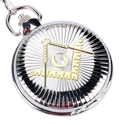 XIGEYA Taschenuhr mit großem Zifferblatt, quadratisches gelbes Freimaurer-Symbol, Geschenkidee zu Weihnachten, Silberfarben