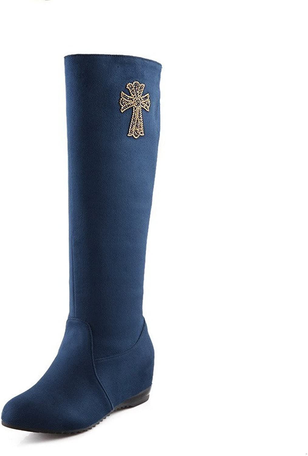 WeiPoot Ladys Closed Round Toe Kitten Heel PU Frosted Solid Boots with Glass Diamond, Royalbluee, 7.5 B(M) US
