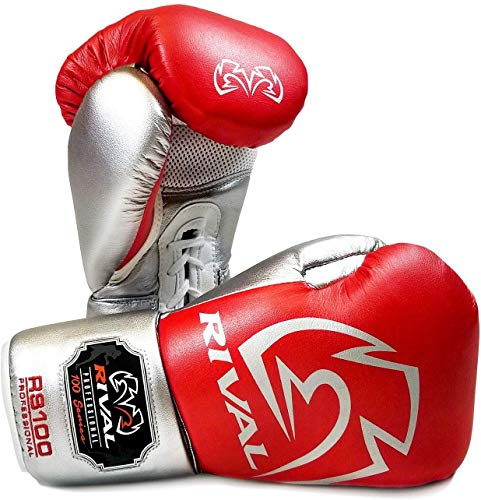 Rival RS100 Boxhandschuhe für Sparring-Training, Rot / Silber, Rot, Silber, 454 g