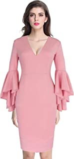 Women's Cocktail Midi V Neck Sexy Vintage Party Sheath Bell Sleeves Dress