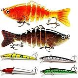 Fiyuer señuelos de Pesca 6 Pcs cebos Artificiales con Triángulo Ganchos Manivela Cebo Accesorios Aparejos De Pesca para la Pesca