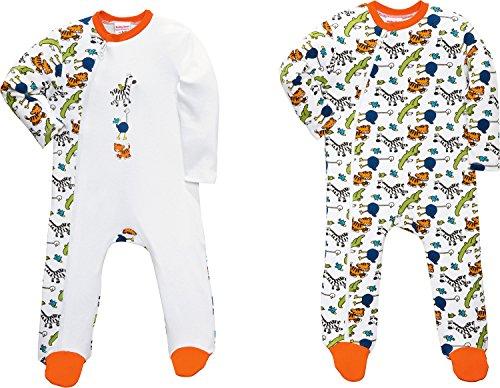 Erwin Müller Baby-Schlafanzug 2er-Pack Interlock-Jersey orange/weiß Größe 62 / 68