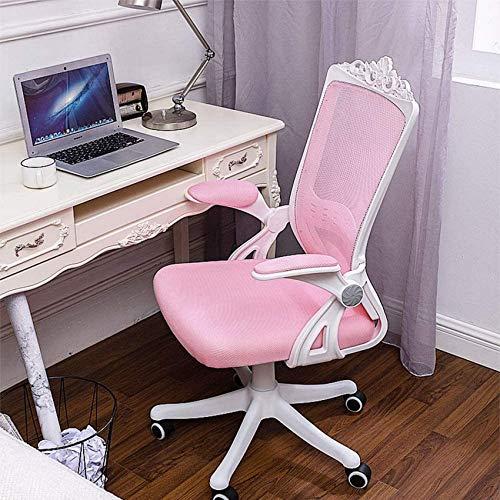 DFJU Cadeiras de Mesa de escritório, cadeira de malha para computador, cadeira giratória ajustável de trabalho, cadeira ergonômica com encosto confortável, preta, com apoios de braço
