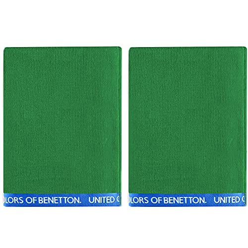 UNITED COLORS OF BENETTON, SET 2 TOALLAS DE PLAYA 90X160CM 380GSM VELOUR 100PercentALGODON VERDE CASA BENETTON, 90x160 c/u
