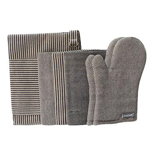 ProCook Küchentextilien - Set - 4-teilig - Kochschürze, Ofenhandschuhe und Geschirrtücher - schwarz und hellbraun - Küchenhelfer