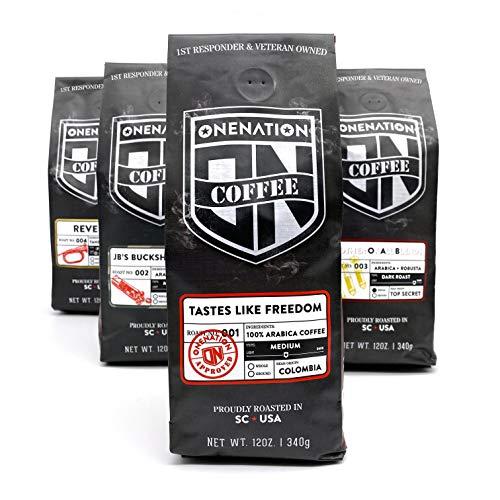 OneNation Coffee 4 Roast Variety Pack – 12oz bundle – [Ground]