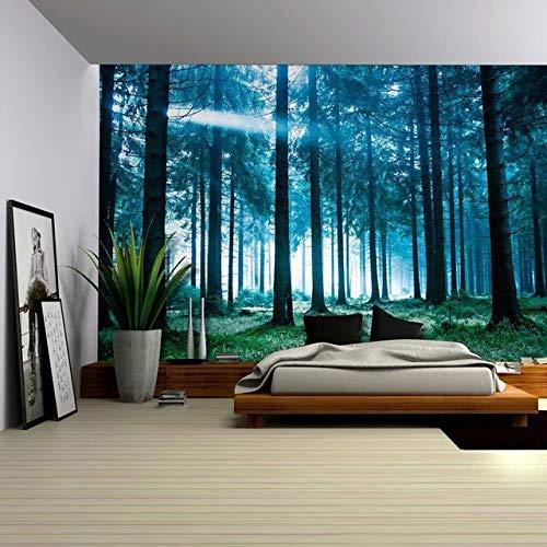 xkjymx Toalla de Playa Cuadrada Decorativa Planta de tapicería de impresión Digital Tapiz Retro de Madera decoración del hogar Bosque temprano en la mañana AE-8802 180 * 230