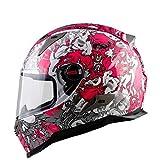 LCSD Cascos rosa calavera graffiti cuatro estaciones carretera locomotora casco integral mujer motocicleta casco cubierta completa ABS carreras al air...