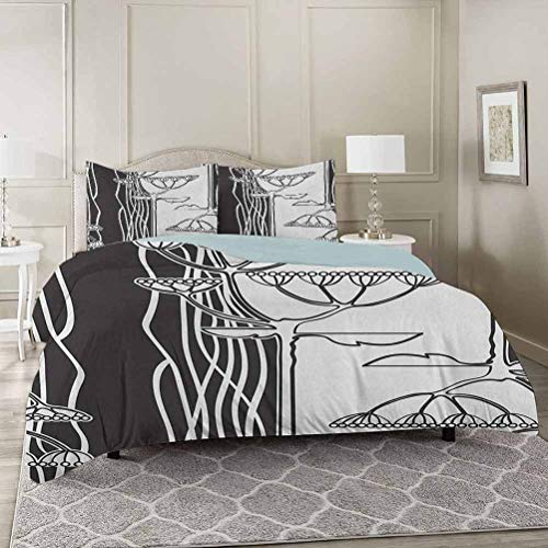 YUAZHOQI Black and White Bedding Duvet Cover Sets Queen, Abstract Fennel Plants with Seeds Monochrome Garden Condiment Ornament Super Soft Microfiber 3 Piece Duvet Cover Set Includes 2 Pillow Shams