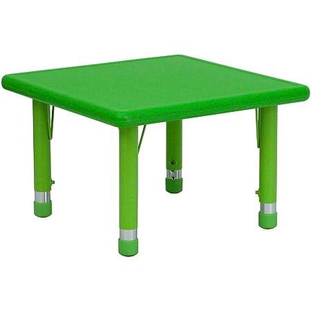 Flash Furniture 24 W X 48 L Rectangular Green Plastic Height Adjustable Activity Table Furniture Decor