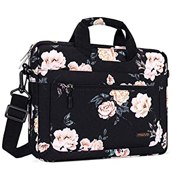 MOSISO Laptop Shoulder Bag Compatible with MacBook Pro/Air 13 inch 13-13.3 inch Notebook Computer Polyester Camellia Messenger Carrying Briefcase Sleeve with Adjustable Depth at Bottom Black