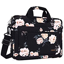 MOSISO Laptop Shoulder Bag Compatible with MacBook Pro/Air 13 inch, 13-13.3 inch Notebook Computer, Polyester Messenger… 9 Internal Dimensions: 18.3 x 1.57 x 14.17 inches (L x W x H); External Dimensions: 18.9 x 1.57 x 14.57 inches (L x W x H). Removable and adjustable padding shoulder strap with anti-slip shoulder pad varied from 27 inch to maximum 47 inch and dual sturdy handles for long time comfortably carrying, top handles also can tuck away in the pockets when not needed. The extra zipper at the bottom bag can widen the depth up to 2.76 inch when you need. Features a polyester foam padding layer and soft fabric lining for bump and shock absorption. The soft fabric lining provides protection against accidental scratches.