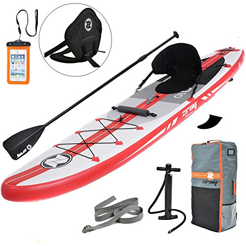 Zray Inflatable Stand Up Paddle Board SUP Comes with High Pressure Pump with Gauge/Adjustable Aluminum Paddle/Big Durable Backpack, 6' Thick (A1)