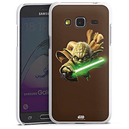 DeinDesign Hard Hülle kompatibel mit Samsung Galaxy J3 Duos 2016 Schutzhülle weiß Smartphone Backcover Star Wars Yoda Fanartikel