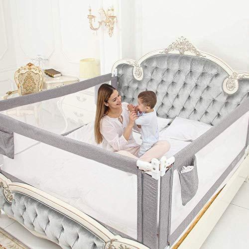 ZEHNHASE Barandilla de La Cama para bebés, Barrera de cama para niños Colchón doble, doble, tamaño completo tamaño queen y king (gris, 220cm, Children: XL)