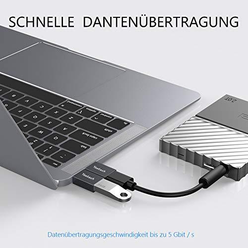 yootech USB C auf USB Adapter (4 Stücke),[nebeneinander Verwendung] Aluminium Thunderbolt 3 auf USB 3.0 OTG Adapter für MacBook Pro 2019/2018/2017/Air 2018,Dell XPS, Huawei P30, Galaxy Note10 usw