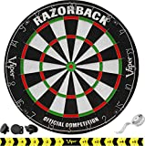 Viper Razorback Official Competition Bristle Steel Tip Dartboard Set with Staple-Free Razor Thin Metal Spider Wire for Increased Scoring, Reduced Bounce Outs; Self-Healing Premium-Grade Sisal Board