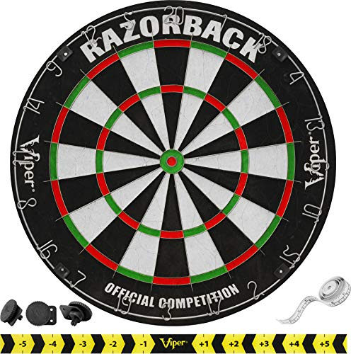 Viper Razorback Official Competition Bristle Steel Tip Dartboard Set with Staple-Free Razor Thin Metal Spider Wire for Increased Scoring