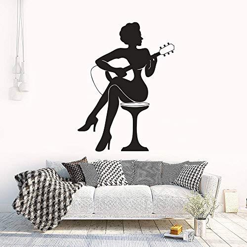 wZUN Bar Cantante Etiqueta de la Pared Guitarrista Elegante Dama Vinilo calcomanía música decoración del hogar 46X63 cm