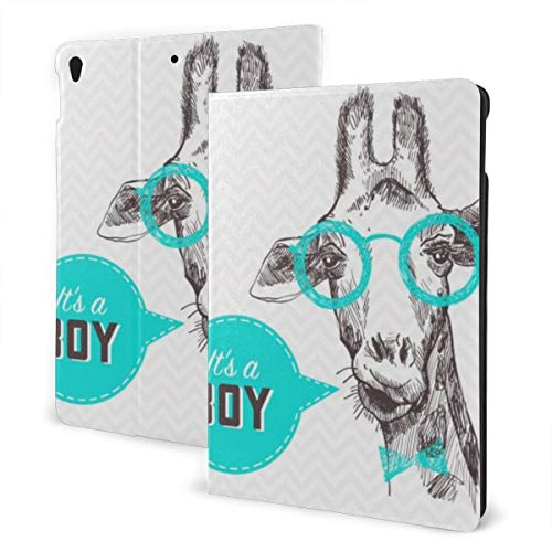 Animal Design Case for ipad 7th Generation 10.2in and ipad Air 3 & Pro 10.5in TPU Protective Leather Cover Adjustable Stand Auto Wake/Sleep Smart Case - Pretty Giraffe Facial Head Glasses
