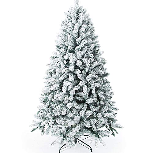 7 Ft Flocked Christmas Tree with Snow,White Christmas Tree,Fully Frosted Xmas Pine Tree for Outdoor/Indoor,Flocking Artificial Christmas Spruce Trees with Metal Stand for Home,Office,1000 Tips