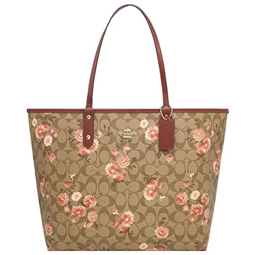 COACH Signature Prairie Daisy Cluster Print Reversible City Tote Khaki/Coral/Multi/Wine One Size