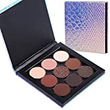 MOMSON Colorful Eyeshadow Makeup Palette - 9 Colors Refillable High Pigmented Glitter Matte Shimmer Portable Eyeshadow with Magnetic Palette, Long Lasting, Waterproof, Blendable(nude brown smoky taupe bronze)