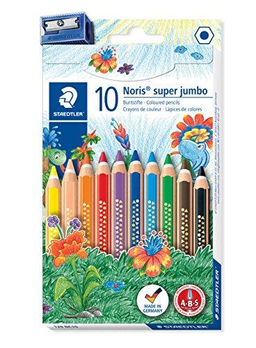 Staedtler 129 NC10 Noris Club Super Jumbo Buntstifte, 10 Stück im Kartonetui