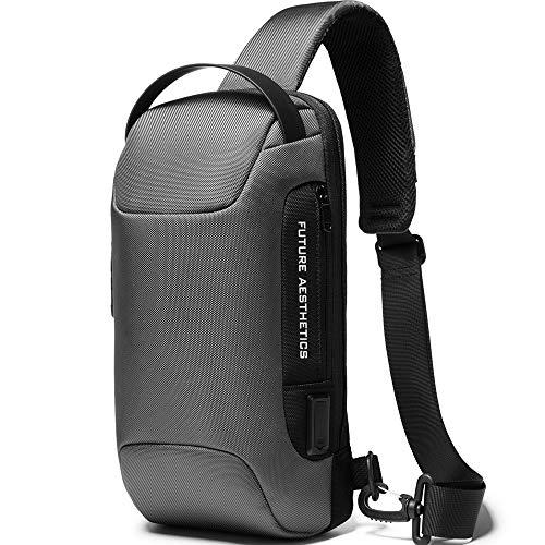 BanGe Anti theft Sling Bag, Waterproof Men's Chest Bag Shoulder Casual Crossbody Backpack with USB Charging Port…