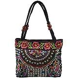 MLXG - Bolso de mano para mujer, bordado étnico, diseño de flores a mano, para damas, (flores), 25*10*21CM