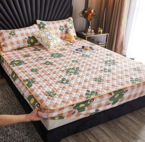XLMHZP Sábana Ajustable Acolchada Agradable para la Piel Funda Protectora de colchón de Cama Suave y Transpirable Ropa de Cama cómoda Ropa de Cama-N_90x200cm + 30cm
