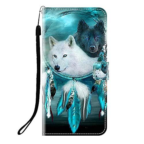 Sunrive Kompatibel mit Lenovo ZUK Z2 Pro Hülle,Magnetisch Schaltfläche Ledertasche Schutzhülle Etui Leder Hülle Handyhülle Tasche Schalen Lederhülle MEHRWEG(Q Wolf 6)