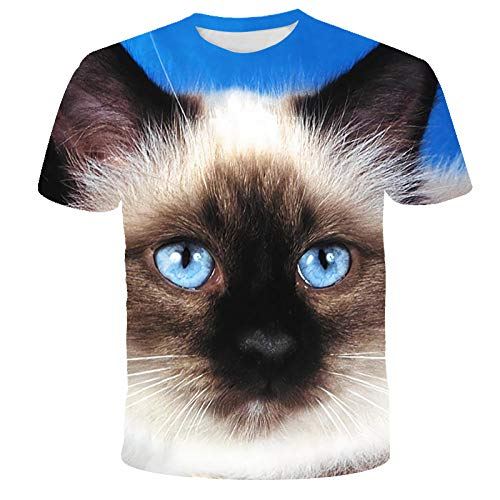 Único 3D Digital Cat Head Animal Print Moda Al Aire Libre Transpirable Deporte Ropa Informal Pullover Tees...
