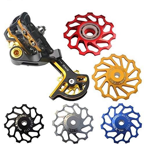 SHP SHIHONGPING Transmission De Vélo 2pcs / lot 11T / 13T Céramique Roulement VTT Vélo Vélo de Route Galet poulie arrière Dérailleur Jockey Roues Compatible Shimano (Color : 13T Gold 2pcs)