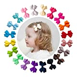 Ruyaa Basic Hair Bow Clip for Baby Girl Fully Covered Non Slip for Fine Hair Small 2 Inch Toddler Girl Hair Accessories Assorted Solid Color Kid Hair Barrettes
