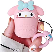 BONTOUJOUR AirPods Case, Super Cute Creative Lovely Hiding in Cup Blue Hair Clip Pink Melody Rabbit AirPods Case, Cute Bunny Soft Silicone Earphone Protection Skin for AirPods1&2+Hook