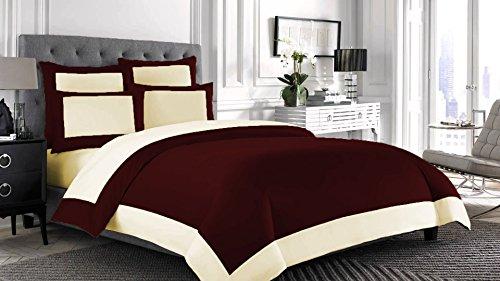 Bedding Attire Juego de funda de edredón reversible de 4 piezas con sábana bajera de algodón egipcio de 600 hilos, tamaño doble y color vino/marfil