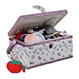 Large Wooden Sewing Box with Accessories Sewing Storage and Organizer with Complete Sewing Kit Tools, White Purple Sewing Basket with Removable Tray and Tomato Pincushion for Sewing Mending