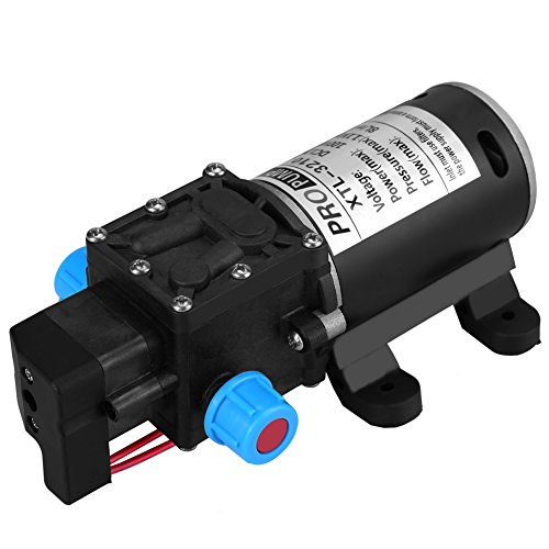 Keenso Selbstansaugende Wasserpumpe, 12 V Gleichstrom, 100 W, 8 l/min, 160 Psi, Hochdruck-Wasserpumpe, intelligentes Ventil (mit Druckschalter) für Autowaschmaschine, Solarenergie, Wasser