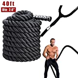 Z ZELUS Pure Poly Dacron Battle Ropes for Strength and Conditioning Workouts (2' X 40ft)