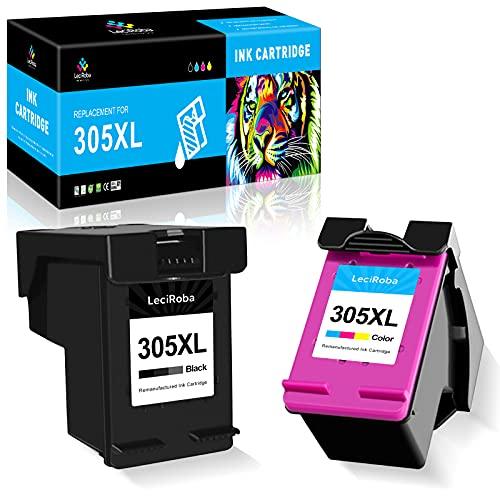 LeciRoba 305 XL Ersatz für hp 305 druckerpatronen XL für HP Deskjet 2710 2720 2724 , DeskJet Plus: 4110 4120 4158; Envy Serie 6010 6020 6030 6032 , Envy Pro Serie 6420 6432 6475 (1-Schwarz ,1-Farbe )