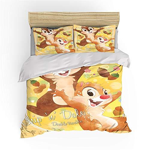 AQEWXBB Chip'n 'Dale – Funda nórdica para niños, decoración de dormitorio, suave, antiarrugas, fácil de limpiar (Dale1, 135 x 200 cm + 80 x 80 cm x 2)