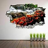 Cascada Naranja Setas Árboles 3D Pared Arte Pegatinas Mural Decoración De Inicio 70X110Cm
